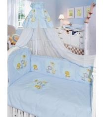 Комплект в кроватку 7 предметов Золотой Гусь Сафари голубой