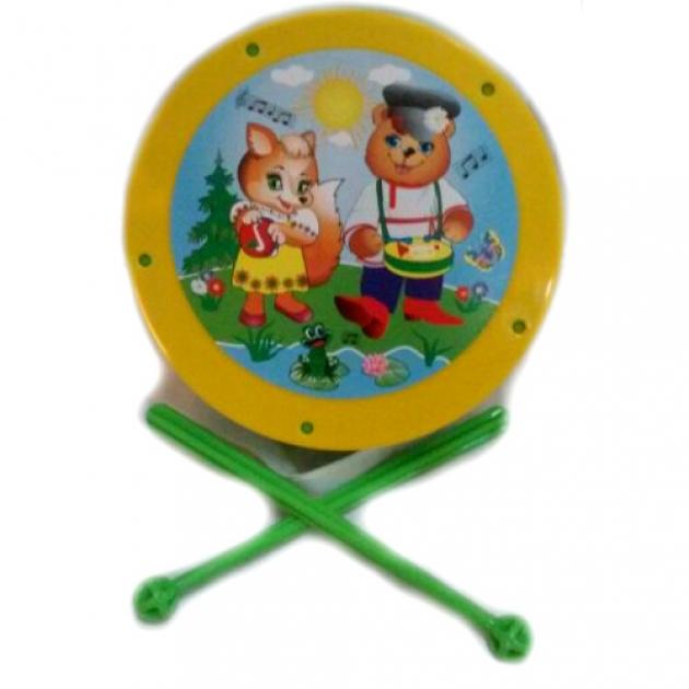Детский барабан лиса и медведь желтый Аэлита Р77314