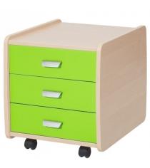 Тумба Астек Лидер 3 ящика береза зеленый