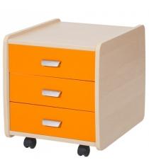 Тумба Астек Лидер 3 ящика береза оранжевый