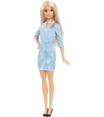 Кукла барби игра с модой блондинка в джинсовом платье Mattel DVX71