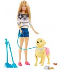 Кукла Barbie прогулка с питомцем DWJ68