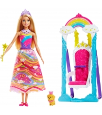 Кукла Barbie принцесса и радужные качели FJD06