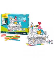 Пазл раскраска игрушечный домик 18 деталей Cubic Fun P693h