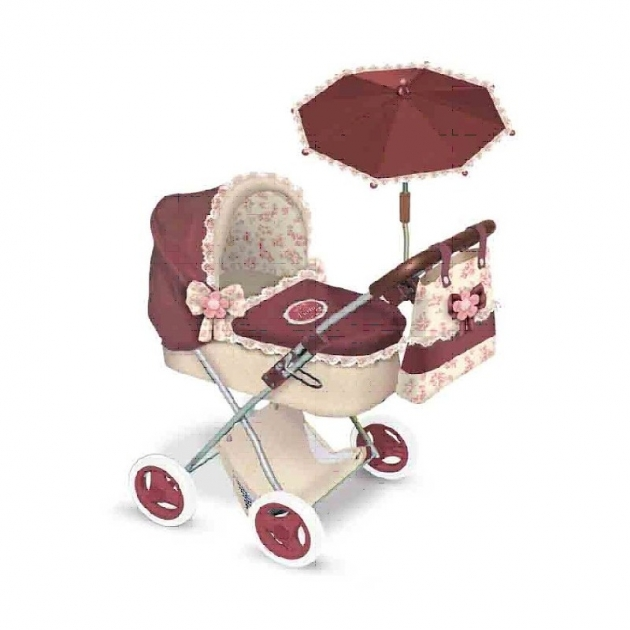 Коляска для кукол мартина с сумкой и зонтиком гранатово бежевая 65 см Decuevas 85015