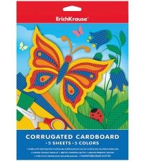 Гофрированный цветной картон формат a4 5 листов 5 цветов Erich Krause 37203
