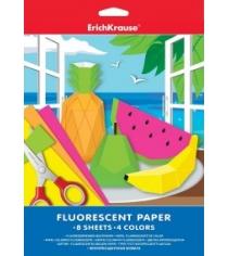 Цветная флуоресцентная бумага а4 8 листов 4 цвета Erich Krause 37198-no