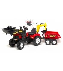 Педальный трактор экскаватор с прицепом красный Falk FAL 1002W
