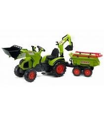 Трактор экскаватор Falk педальный с прицепом зеленый 230 см FAL 1010WH