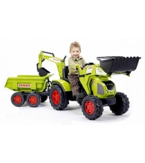 Трактор экскаватор Falk педальный с прицепом зеленый 225 см FAL 1010Z