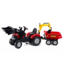 Трактор экскаватор Falk педальный с прицепом и ковшом красный 225 см FAL 1030W