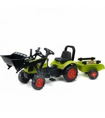 Трактор экскаватор Falk педальный с прицепом зеленый 191 см FAL 1040AM