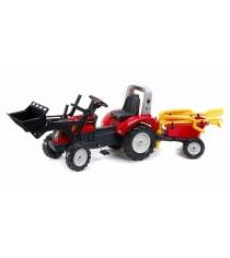 Трактор экскаватор Falk педальный с прицепом красный 210см FAL 1051RM