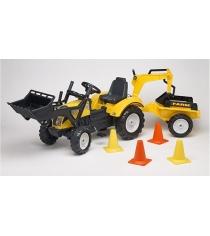 Трактор экскаватор Falk педальный с прицепом желтый 201 см FAL 2085XC