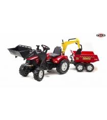Трактор Falk педальный с ковшом и прицепом красный 225 см FAL 995W