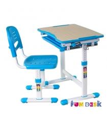 Растущая парта и стул FunDesk Piccolino белый голубой
