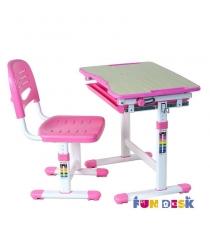 Растущая парта и стул FunDesk Piccolino белый розовый