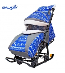 Санки коляска snow Galaxy luxe зимняя ночь олени синие сумка муфта 6080...