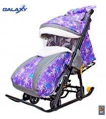 Санки коляска snow Galaxy luxe елки на фиолетовом сумка муфта 6082...