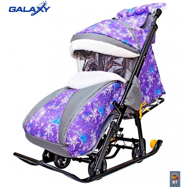 Санки коляска snow Galaxy luxe елки на фиолетовом сумка муфта 6082