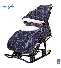 Санки коляска snow Galaxy luxe круги на черном сумка муфта 6083...
