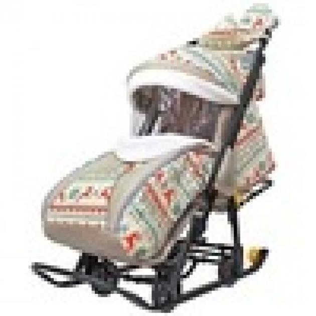 Санки коляска snow Galaxy luxe белая ночь олени оранжевые сумка муфта 6136