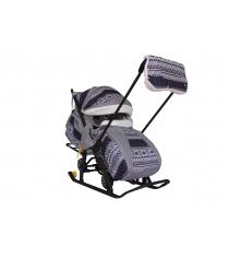Санки коляска snow Galaxy luxe финляндия черная сумка муфта 6753...