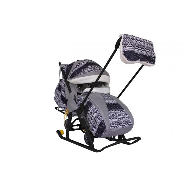 Санки коляска snow Galaxy luxe финляндия черная сумка муфта 6753