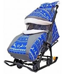 Санки-коляска Galaxy Snow Luxe Зимняя ночь Олени синие...