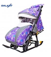 Санки-коляска Galaxy Snow Luxe Елки на фиолетовом