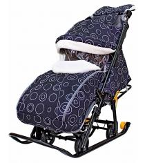 Санки-коляска Galaxy Snow Luxe Круги на черном