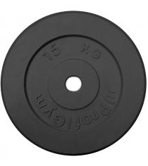 Диск обрезиненный ProfiGym чёрный 15 кг СГ000002873