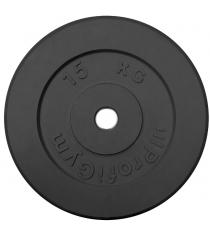 Диск обрезиненный ProfiGym чёрный 15 кг СГ000002880