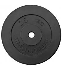 Диск обрезиненный ProfiGym чёрный 25 кг СГ000002882