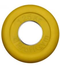 Диск обрезиненный ProfiGym жёлтый 1,25 кг СГ000002904