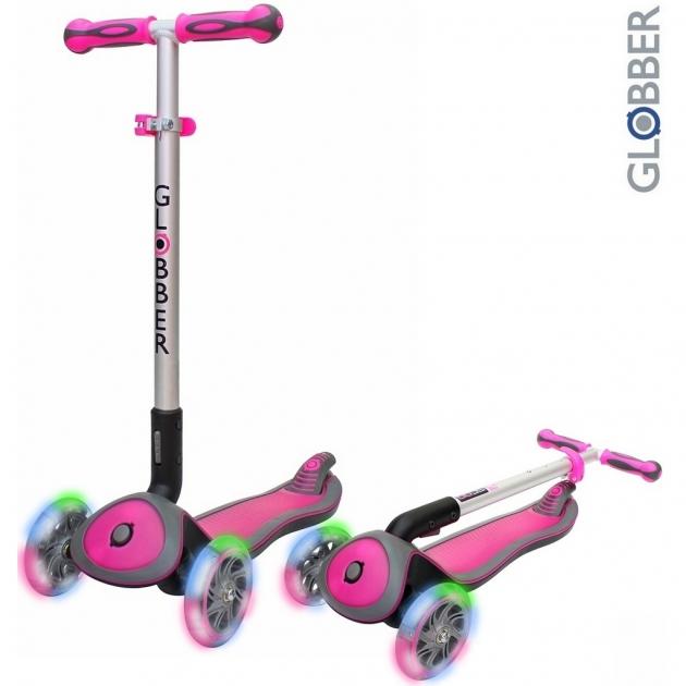 Самокат Globber elite sl my free fold up со светящимися колесами rhodamine розовый 445 110 6311
