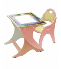 Стол со стульчиком Интехпроект День Ночь розовый персиковый