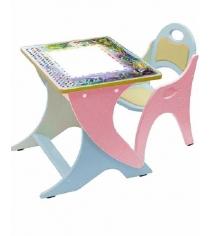 Стол со стульчиком Интехпроект День ночь розовый голубой