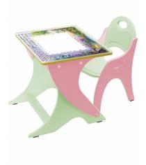 Стол со стульчиком Интехпроект День ночь салатовый розовый