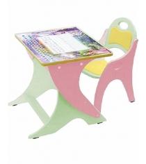 Стол со стульчиком Интехпроект Зима лето салатовый розовый