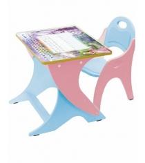 Стол со стульчиком Интехпроект Буквы Цифры розовый голубой