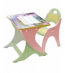 Стол со стульчиком Интехпроект Буквы Цифры салатовый розовый