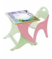 Стол со стульчиком Интехпроект Части света розово салатовый