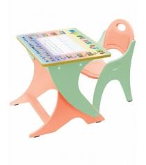 Парта и стульчик Интехпроект Буквы Цифры эвкалипт оранжевый