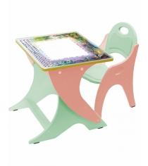 Стол со стульчиком Интехпроект День ночь салатово персиковый