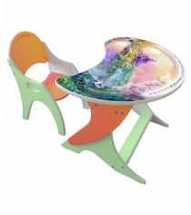 Стол со стульчиком Интехпроект Волшебный Остров эвкалипт оранжевый