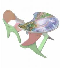 Стол со стульчиком Интехпроект Космошкола салатовый персиковый