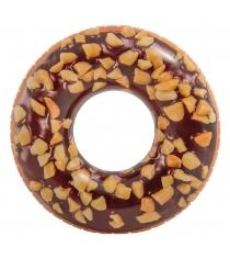 Надувной круг шоколадный пончик 114 см Intex 56262