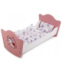 Кроватка для кукол Карапуз милый пони деревянная 52 см RB-P-S