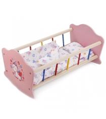 Кроватка для кукол Карапуз милый пони деревянная 52 см RB-P-P